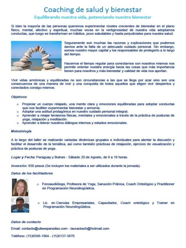 Coaching de salud y bienestar - Sabado 20 de agosto