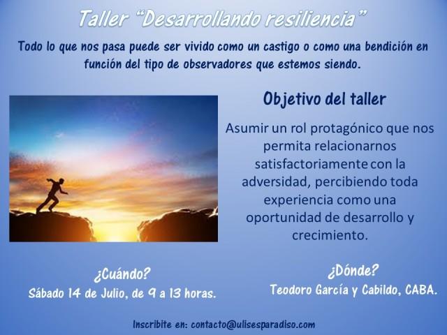 Taller Desarrollando resiliencia - Sab 14 de julio de 2018
