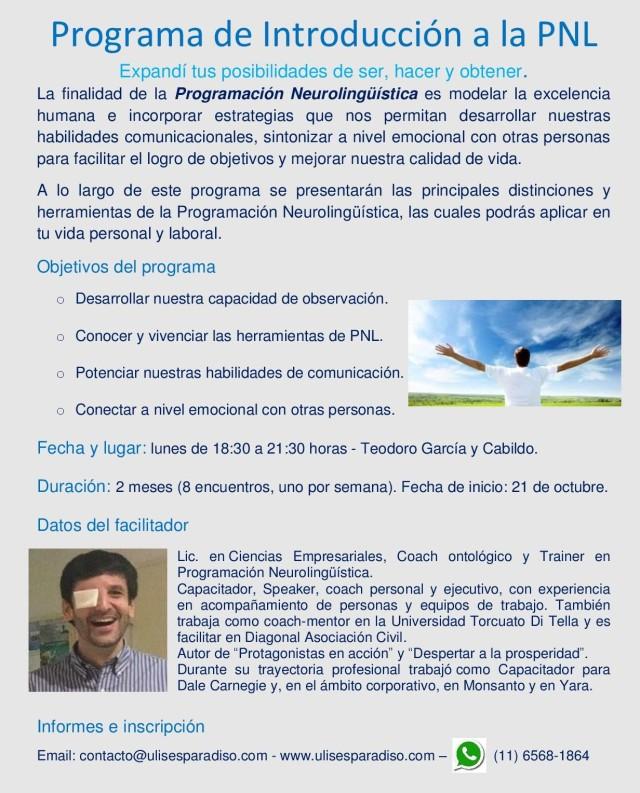 Flyer II Curso - Introducción a la PNL - Octubre 2019