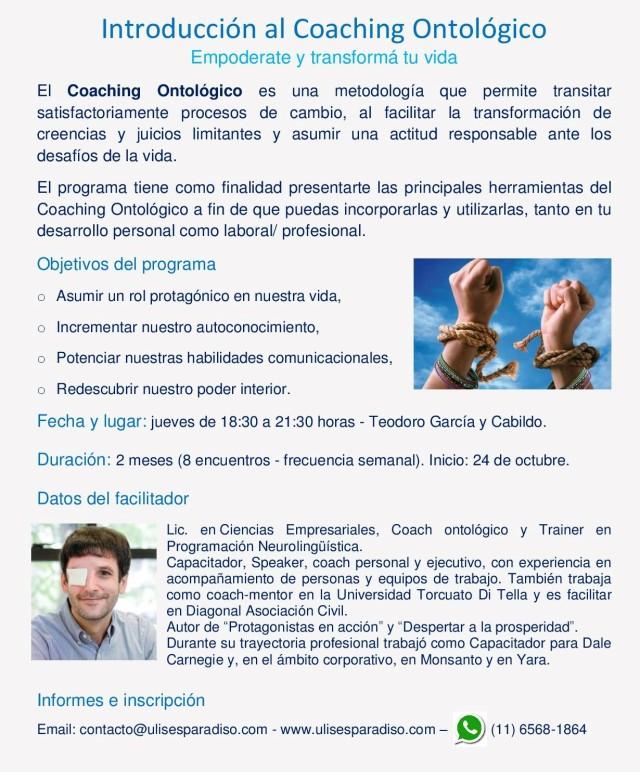 Flyer II Curso - Introducción al coaching ontológico - Octubre 2019